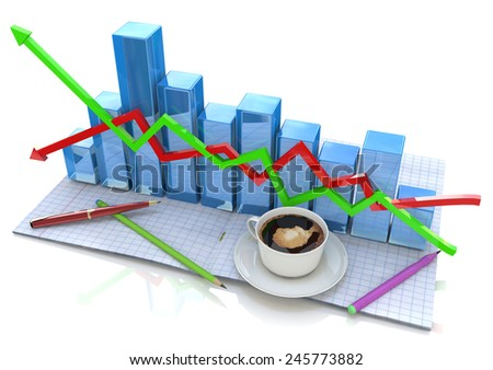 Business graph and documents, Business accounting  - stock photo