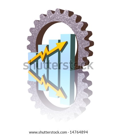 business graph and gear on black  background - 3d illustration - stock photo