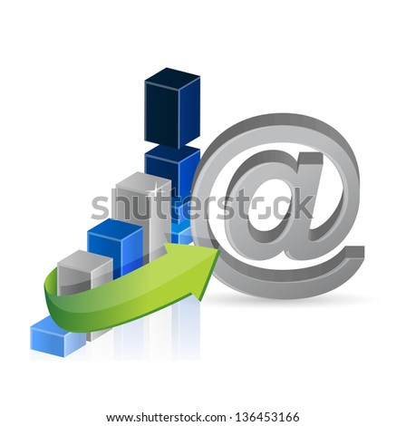 business graph and online sign illustration design over white - stock photo