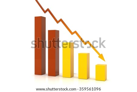 Business Graph bar moving down - stock photo
