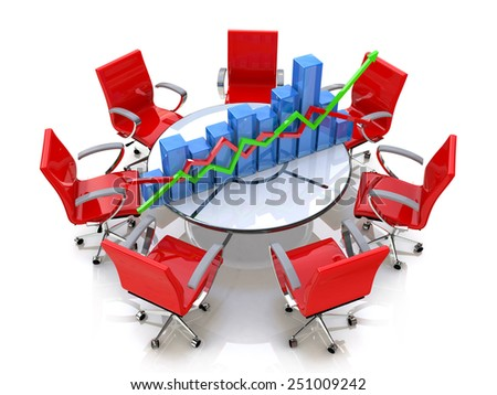 Business graph, chart at the round table and red chairs - stock photo