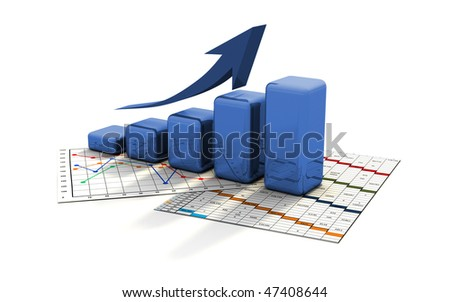business graph, chart, diagram, bar on a list