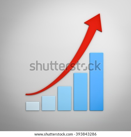 Business graph chart with red rising curved arrow over white wall background with shadow - stock photo