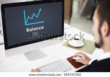 Business Graph Computer Screen Office Concept - stock photo