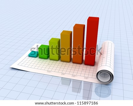 Business graph 3D Render on paper - stock photo