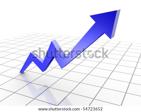 Business Graph, 3d rendered conceptual arrow chart on grid - stock photo