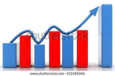 BUSINESS GRAPH 3D rendering - stock photo