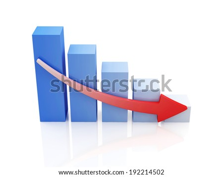 Business Graph Decline isolated on white background - stock photo