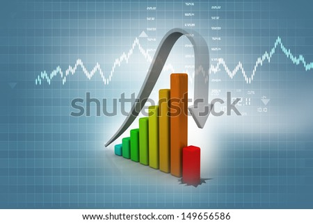 Business Graph decline on abstract background  - stock photo
