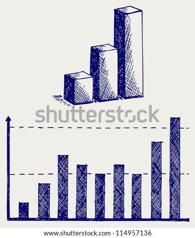 Business graph. Doodle style. Raster version - stock photo