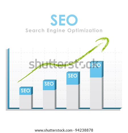 Business graph for seo with a green arrow going up - stock photo