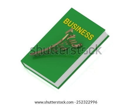 Business graph from golden columns and yellow arrow on white background - stock photo