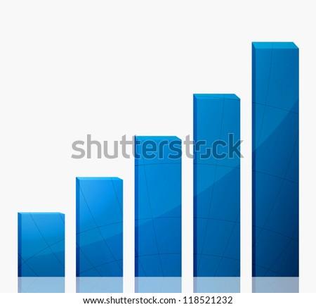 Business graph growth blue arrow - stock photo