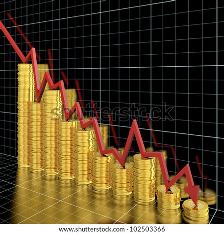 Business graph moving down and showing money loss - stock photo