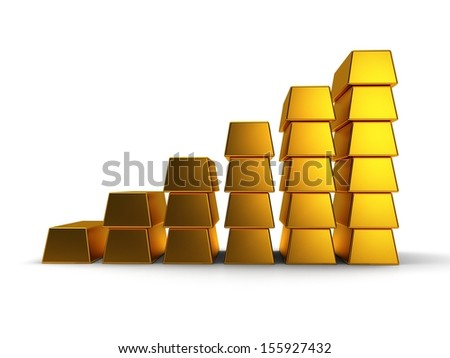 business graph of gold bars 3d render on white back - stock photo