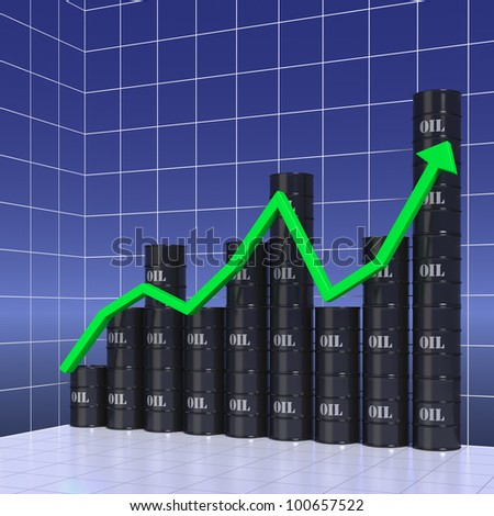 Business graph of oil production or prices - stock photo
