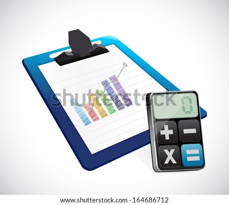 business graph on a clipboard and calculator illustration design over white