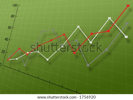 Business Graph on a green grid  background - stock photo
