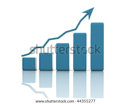 business graph on a white background - stock photo