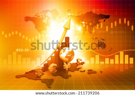 Business Graph on red background  - stock photo