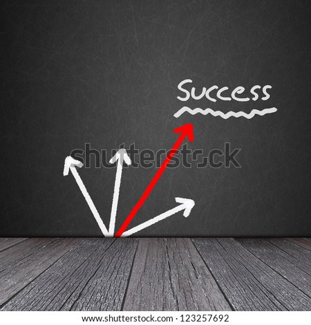 Business graph on the Blackboard with ground of the wood - stock photo