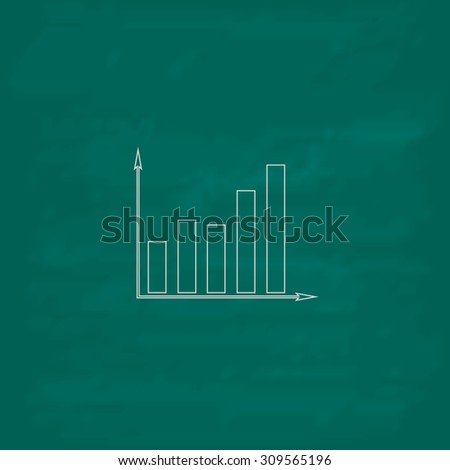 Business graph. Outline icon. Imitation draw with white chalk on green chalkboard. Flat Pictogram and School board background. Illustration symbol - stock photo