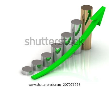 Business graph output growth of silver and golden pillars and green arrows  - stock photo