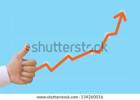 Business graph. The finger of the businessman.