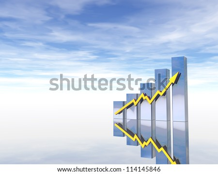 business graph under cloudy blue sky - 3d illustration - stock photo