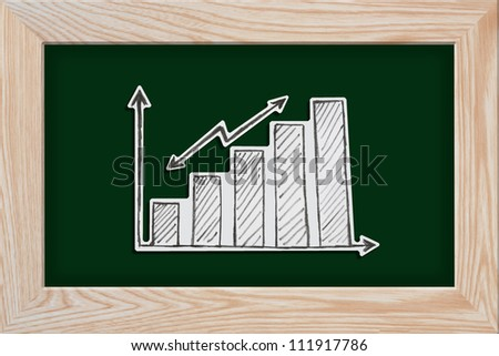 business graph with a pencil drawing on blackboard background
