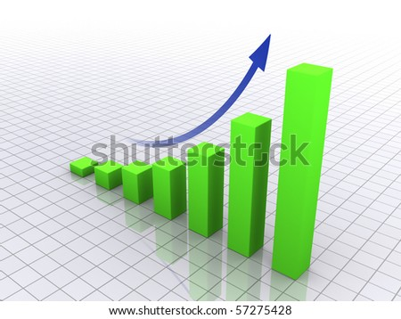 Business graph with arrow - stock photo