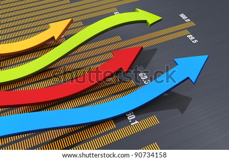Business graph with arrow showing profits - stock photo