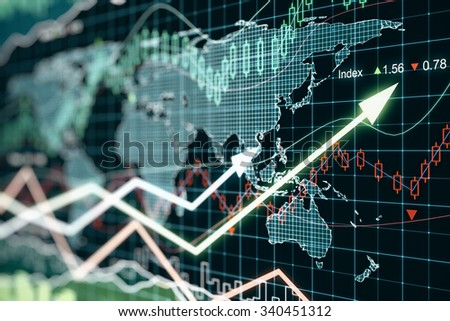 Business graph with arrows, global business concept 3D Render - stock photo