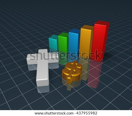 business graph with christian cross and dollar symbol - 3d rendering - stock photo