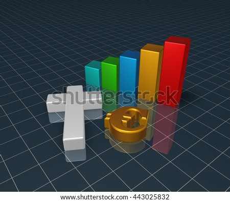 business graph with christian cross and euro symbol - 3d rendering - stock photo