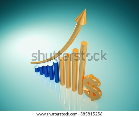 business graph with dollar sign - stock photo