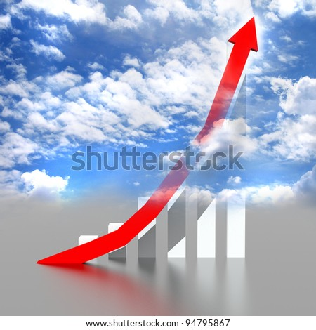 Business graph with going up red arrow on blue sky. - stock photo