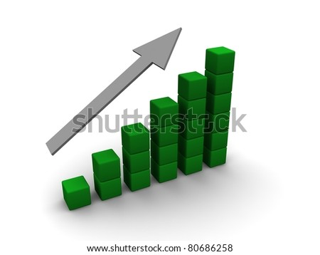 Business graph with grey arrow