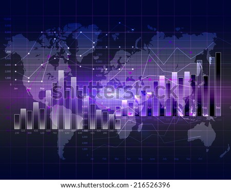 Business graph with grid showing profits and gains - stock photo