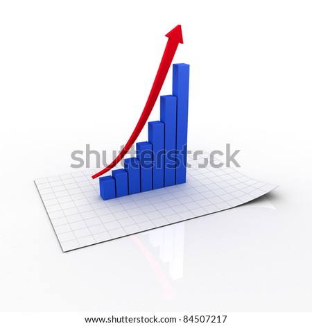 Business graph with red rising arrow on chart paper