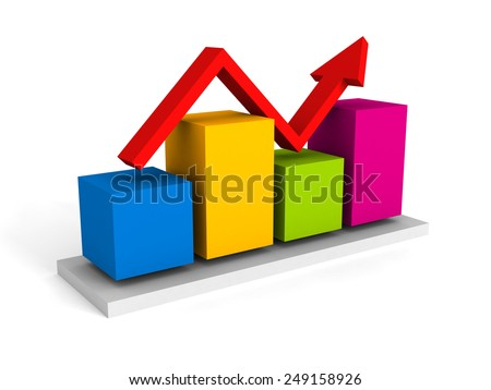 Business graph with red rising arrow on white background. 3d render illustration - stock photo