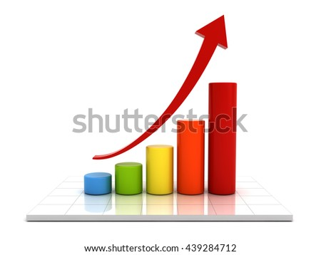 Business graph with red rising arrow over white background with reflection. 3D rendering. - stock photo