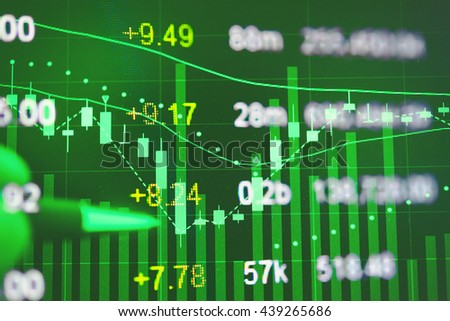 Business graph with tending. Stock market data on LED display concept.Stock Market Prices. Candle stick stock market tracking graph. Economical stock market graph.