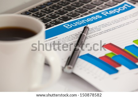 Business graphs and charts, The workplace of business - stock photo