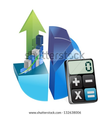 business graphs and modern calculator illustration design over white - stock photo