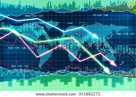 Business graphs with glowing arrows moving down