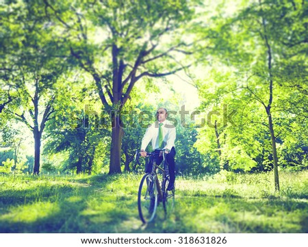 Business Green Healthy Environment Cycling Vacation Concept - stock photo