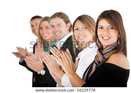 Business group applauding isolated over a white background - stock photo