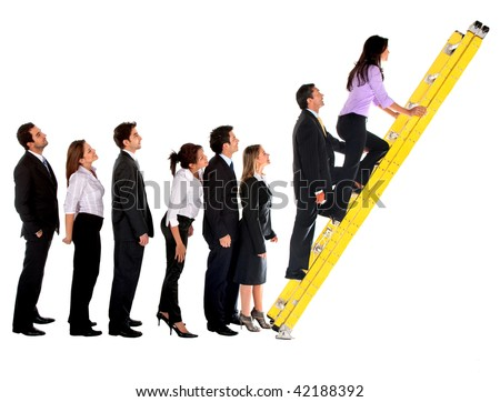 Business group climbing a ladder isolated over a white background - stock photo