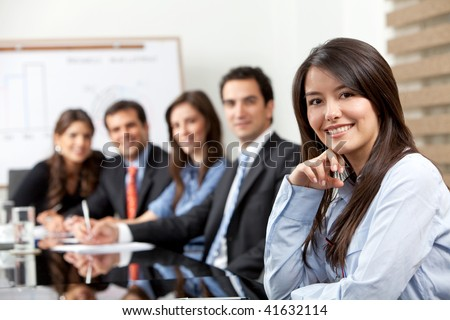 Business group in a meeting at the office - stock photo